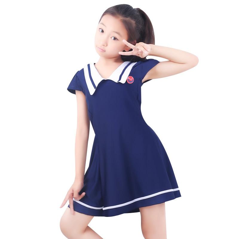 Split Skirt-Boxer Half Sleeve GIRL'S Swimsuit Middle And Large Children Navy Suit-Cute Girls CHILDREN'S Swimsuit