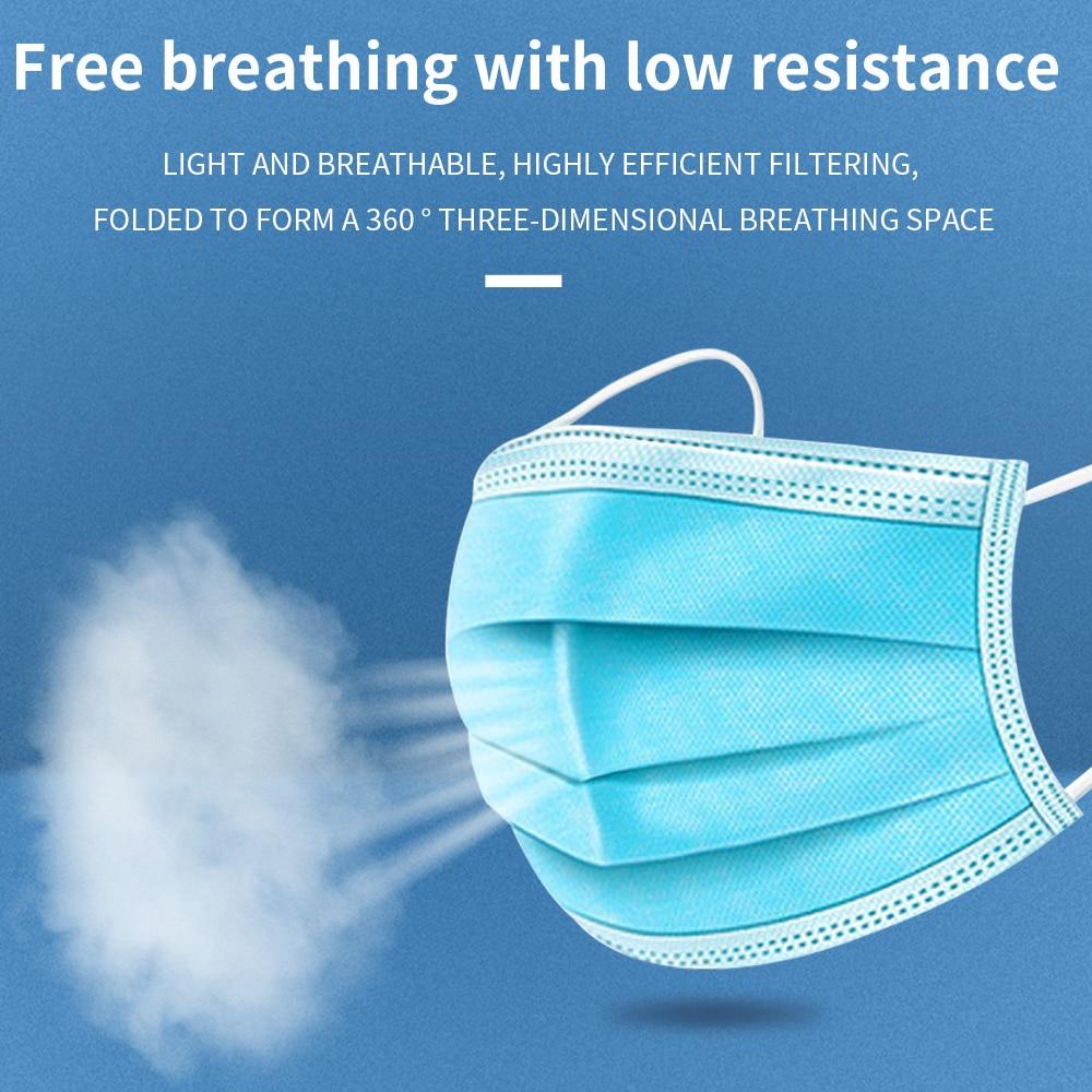 Image 2 - Máscara descartável da poeira de tishric 3 ply anti poeira  máscaras cirúrgicas respiráveis seguras do earloop da caraMásc.   -