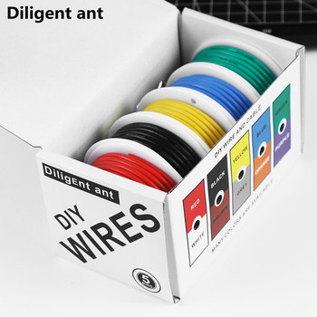 DIY high quality flexible silicone wire and cable 5 colors in a box mixed wire tinned pure copper wire 2
