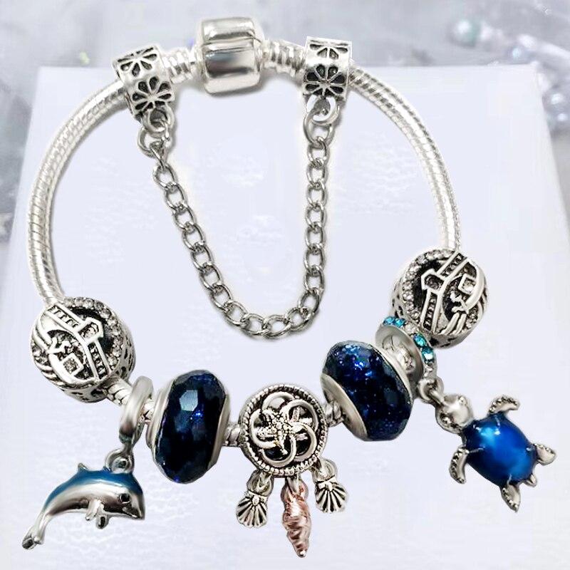 BRACE CODE Blue Bright City Women Bracelet, DIY Ocean Charm Pendant Bead, Brand Bracelet Gifts Direct Delivery