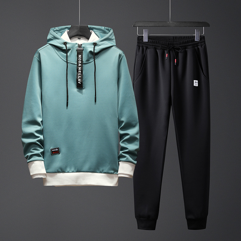 Spring And Autumn Thin Men Hooded Japanese-style Popular Brand Pullover Hoody Trousers Large Size Versatile Leisure Sports Suit
