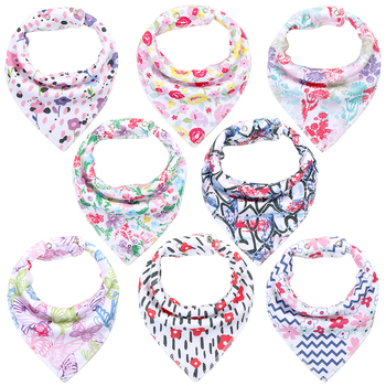 8Pcs/Lot Soft Comfortable Colorful 100% Organic Cotton And Baby Bandana For Boys &Girls Infant Adjustable Snaps Saliva Baby Bibs Accessories Infant (3-12 months) Regular Bibs & Bandanas Shop by Age Toddler (1-3 years)
