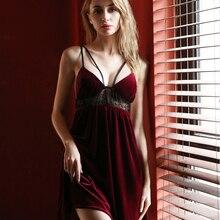 Sexy sleepwear veludo dourado laço atraente housewear preto vermelho camisola sem mangas noite vestido princesa para mulher