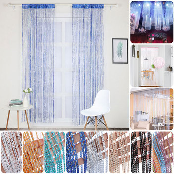 100x200cm Shiny Tassel-Line Curtains Living Room String Curtain Window Door Divider Drape Living Room Valance Home Decoration 1