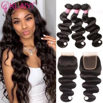 KLAIYI Hair Lace Closure With Bundles Peruvian Hair Body Wave With Closure Human Hair 4x4 Closure Remy Hair Free Middle 3 Part