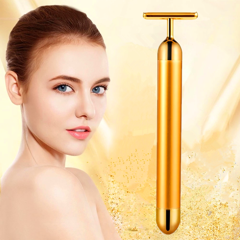 24K Gold Roller Vibration Face Massager Slimming Face Roller Beauty Bar Roller Tightening Wrinkle Masajeador Massage Skin Care