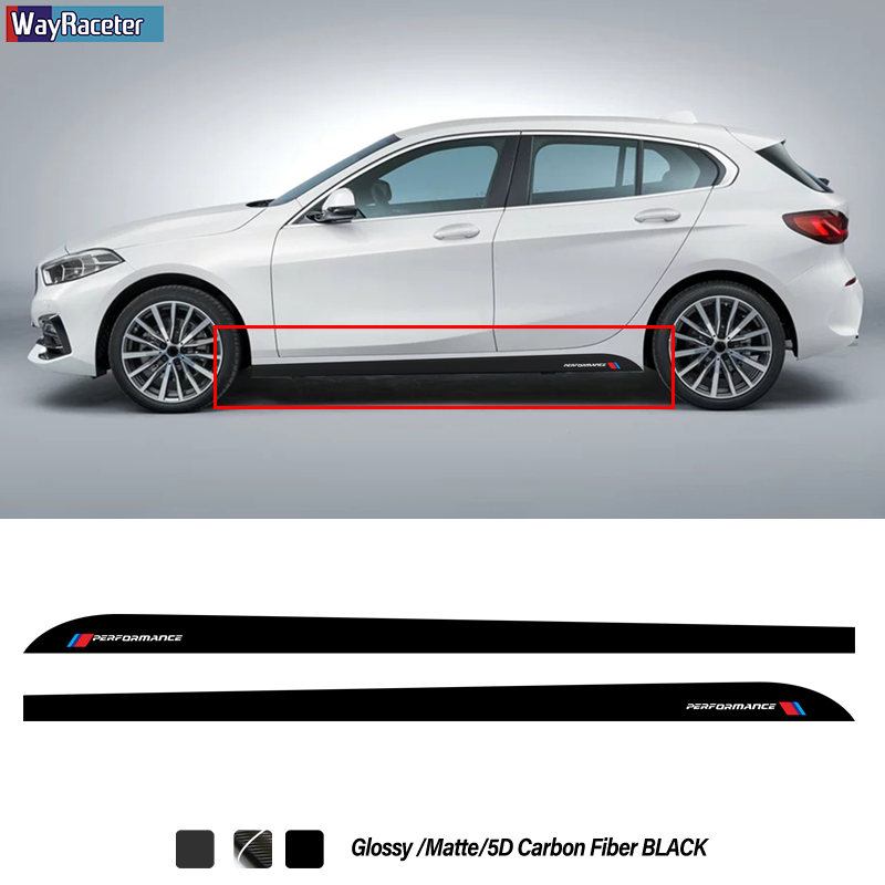 2 Pcs Side Skirt Stripes Sticker M Performance Decal For BMW 1 Series F20 F21 F40 118i 128i 135i M Sport Accessories