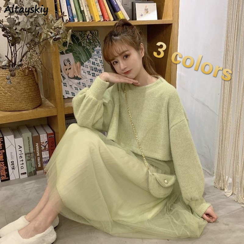 2 Pieces Sets Women Solid Sweet Simple All-match Students All-match Korean Style Chic Daily Soft Mesh Kawaii Girls Ulzzang New