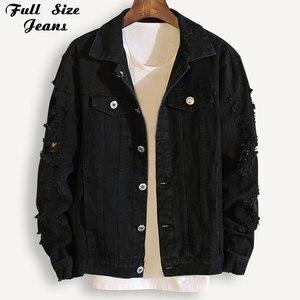 Image 1 - Plus Size Loose Ripped Black Denim Jacket Women 4Xl 5Xl Spring Streetwear Pink Red Basic LoverS Jeans Coat Casual Outwear