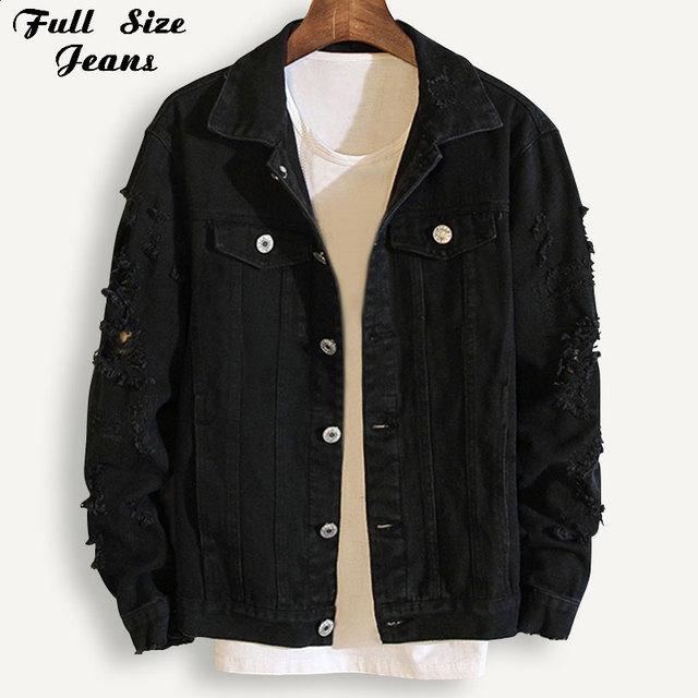 Plus Size Loose Ripped Black Denim Jacket Women 4Xl 5Xl Spring Streetwear Pink Red Basic LoverS Jeans Coat Casual Outwear