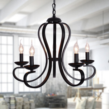 modern candle LED Chandelier Nordic American coutry style hanging lights Fixtures Vintage black wrought Iron Home Lighting E14
