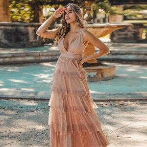 Image 4 - Robe De soirée jamais jolie Sexy col en v a ligne sans manches volants robes De soirée longue 2020 nouveauté De mariage invité robes De soirée