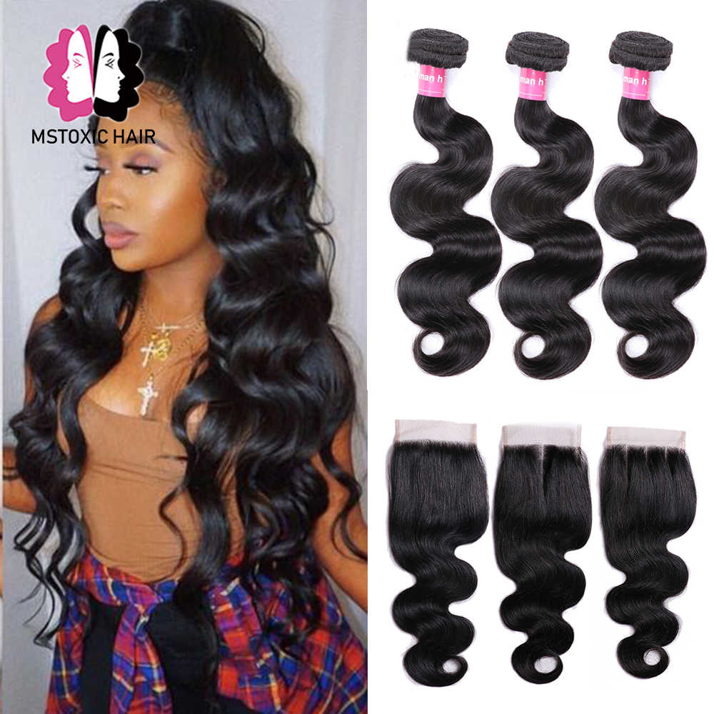 Mstoxic Body Wave Bundles With Closure Brazilian Hair Weave Bundles With Closure Remy Human Hair Bundles With Closure