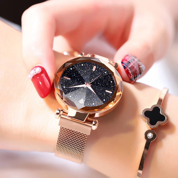 2019 Hot Sale Women Watches Fashion Luxury Magnetic Buckle Stainless Steel Strap Refractive surface Luminous Dial Quartz Watch