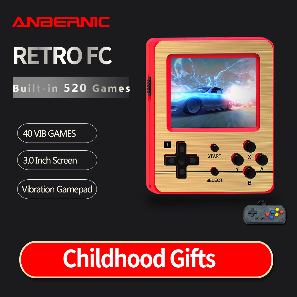 New Xmas ANBERNIC Video game Retro Games 520 600mAh Battery Retro Video Handheld Game Console 3 0 Inch Game Player for Child