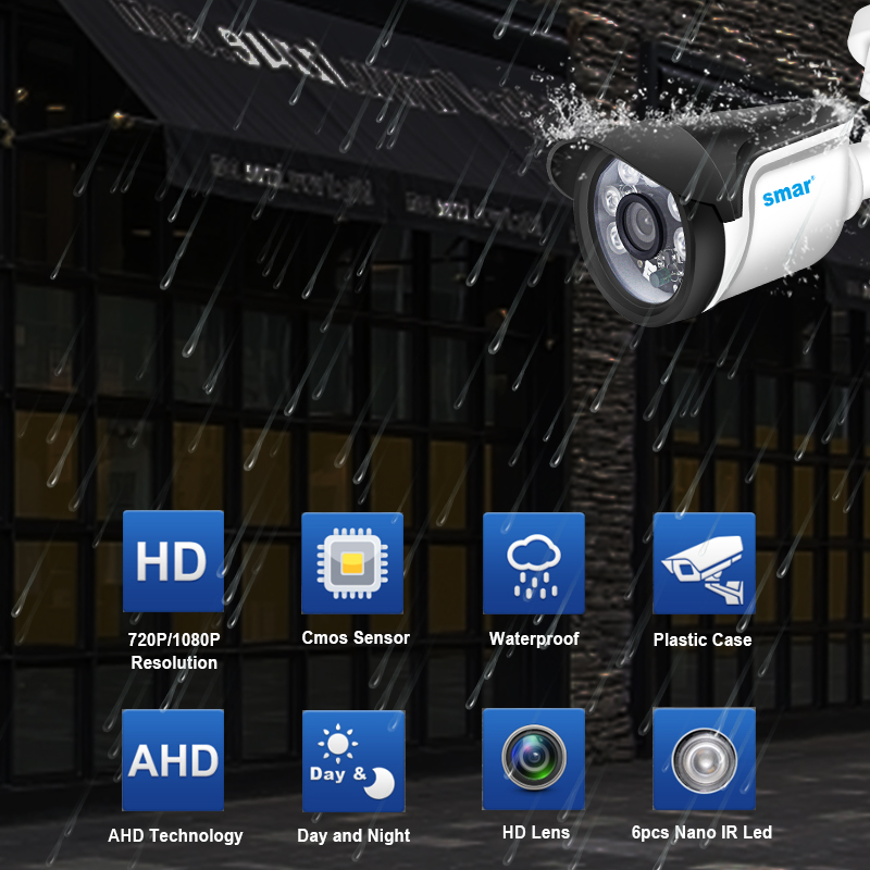 Image 2 - Smar Security CCTV 720P 1080P AHD Camera Outdoor Waterproof Bullet Cameras Day & Night Surveillance HD 3.6mm Lens IR CUT-in Surveillance Cameras from Security & Protection