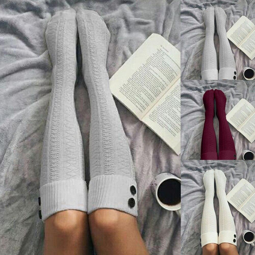 Гольфы Женские до бедра, длинные хлопковые чулки, теплые длинные носки для девушек