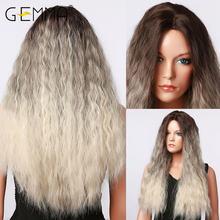 Gemma длинный кудрявый Омбре черный серый пепельный блонд Белый