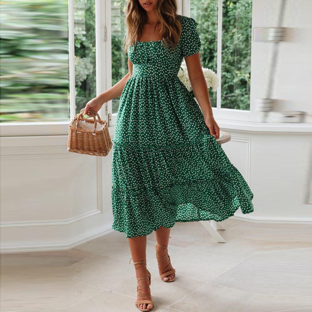 Summer Beach Dress Women Sundress Black Bohemian Casual Women Long Dress Square Collar Print Boho Maxi