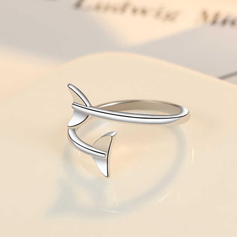 เกาหลี SIMPLE Chic Fishtail 925 แหวนเงินผู้หญิงงานแต่งงานแหวนหมั้นเครื่องประดับคริสต์มาสของขวัญ