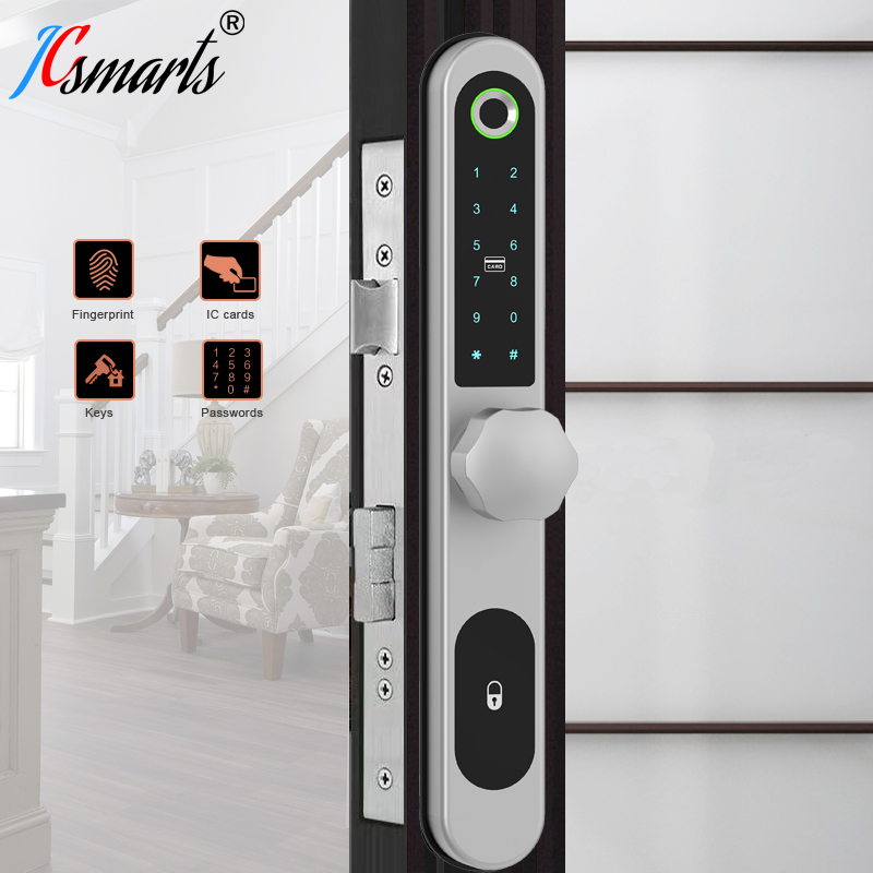Электронный умный дверной замок со сканером отпечатков пальцев, дверной замок, биометрический замок с круглой ручкой