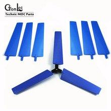 3-10 pçs/lote peças de tijolos de alta tecnologia aeronaves ventilador lâminas hélice para moinho de vento compatível com 99012 educação ev3 bloco diy brinquedo