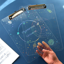 Stationery Clip Acrylic-Pad A4 Paper Writing-Board School-Supplies Transparent Kids Splint