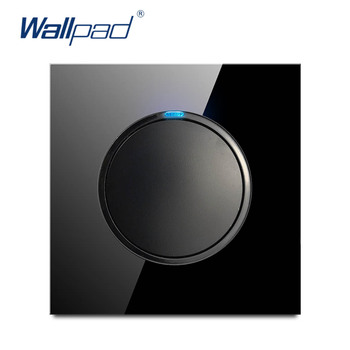 цена на Wallpad 2019 New Arrival 1 Gang 2 Way Random Click Push Button Wall Light Switch With LED Indicator Crystal Glass Panel 16A