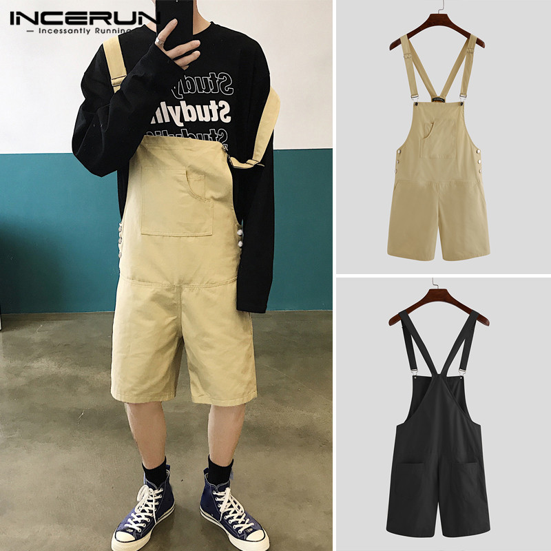 INCERUN Fashion Men Rompers Joggers Pockets Jumpsuit Baggy Chic Solid Korean Shorts 2020 Streetwear Mens Bib Overalls Playsuit