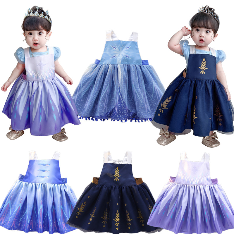 JEMMA LEONG 2020NEW Frozen Newborn Baby Elsa Cosplay Apron Waterproof Painting Smocks For Girls Baby Pinafore Reverse Bib Dress