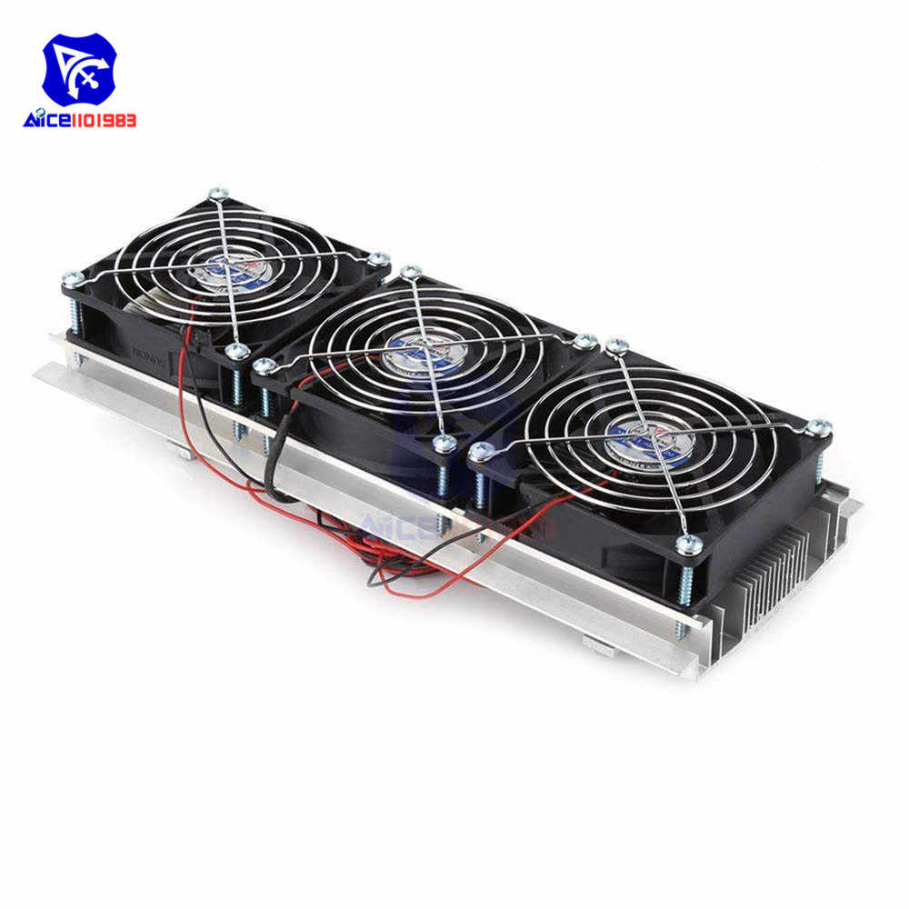180W Triple Kipas Angin Semiconductor Refrigeration Pendinginan Termoelektrik Air Cooled Aluminium Radiator Fan untuk Kulkas Mini