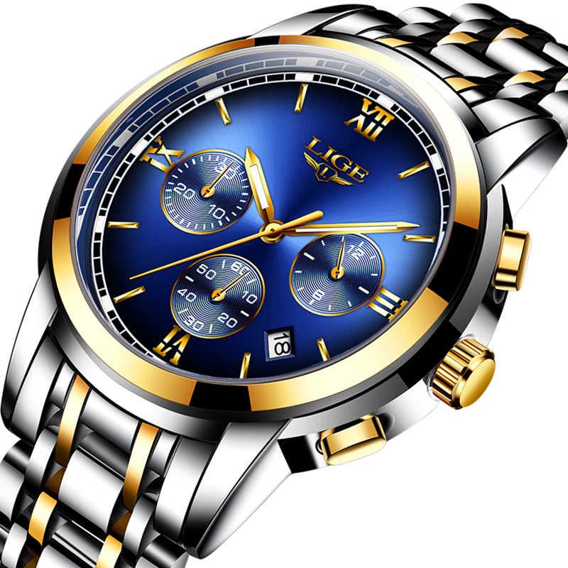 Montre Homme Montre hommes de luxe marque LIGE chronographe hommes Sport Montre étanche plein acier Quartz hommes montres Relogio Masculino