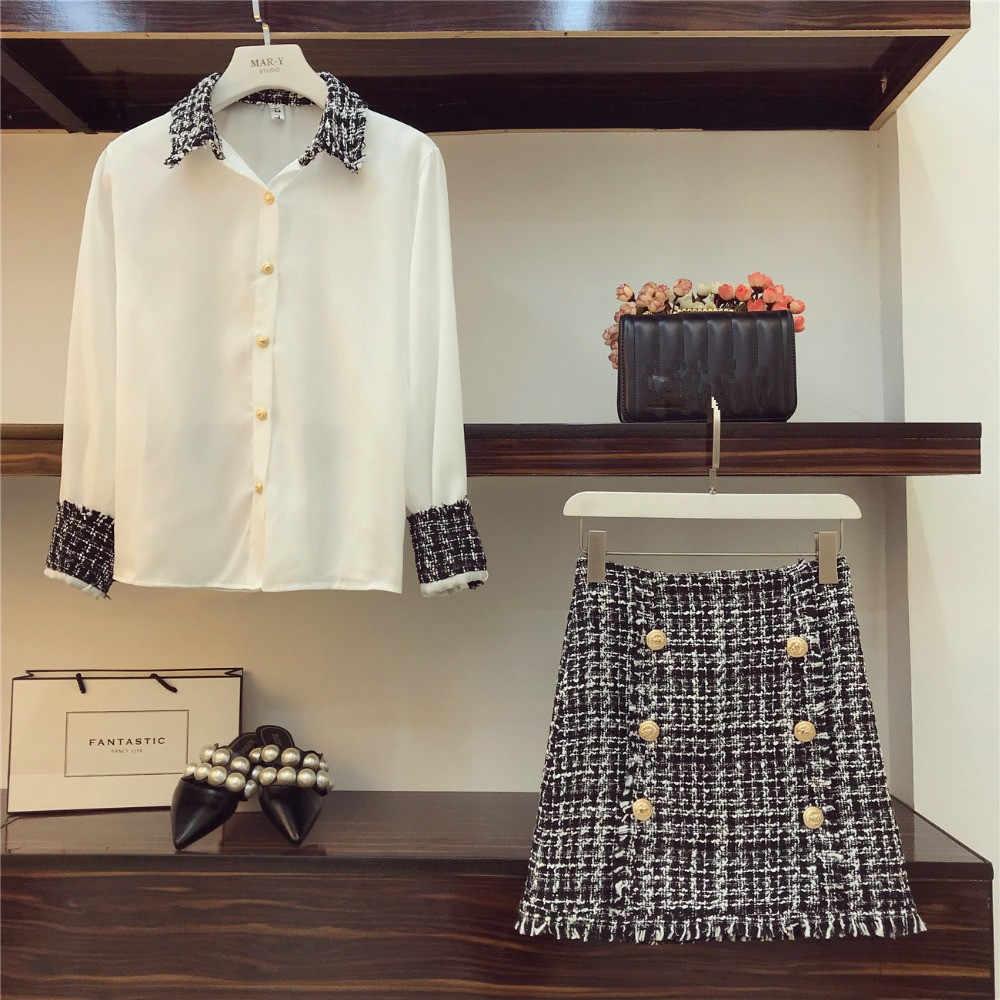 Conjunto de 2 piezas de mujer elegante de alta calidad, camisa de chifón superior con borlas de Tweed + minifalda de tubo de lana con doble botonadura