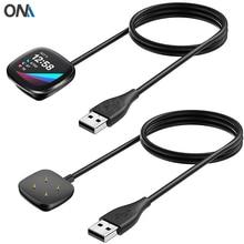 สายชาร์จสำหรับFitbit Sense / Versa 3 USBชาร์จแม่เหล็กแท่นวางฐานสถานีสมาร์ทนาฬิกาอุปกรณ์เสริม
