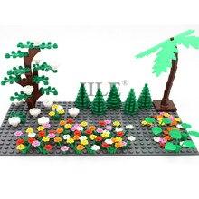 Moc conjunto de plantas refeição blocos de construção cidade rua vista diy tijolos a granel gardan árvore flor grama sem placa base crianças brinquedos