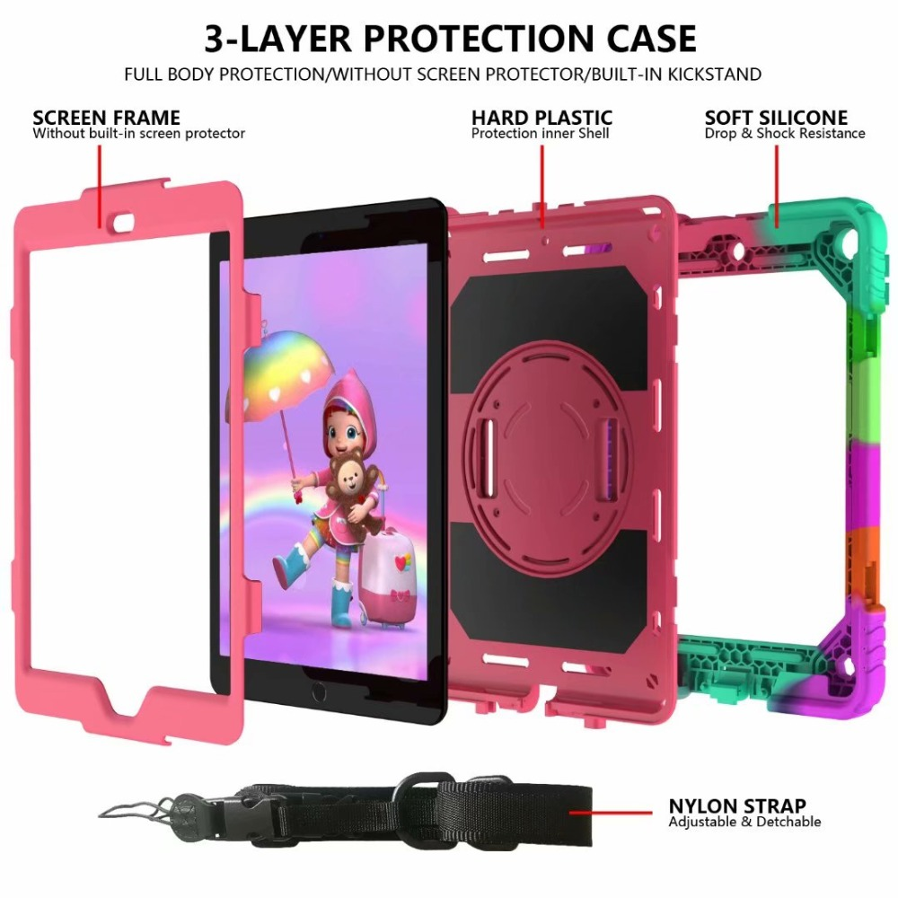 Pencil Holder Strap 7th For iPad Generation Case Rotating 360 Hand For Stand iPad Cover