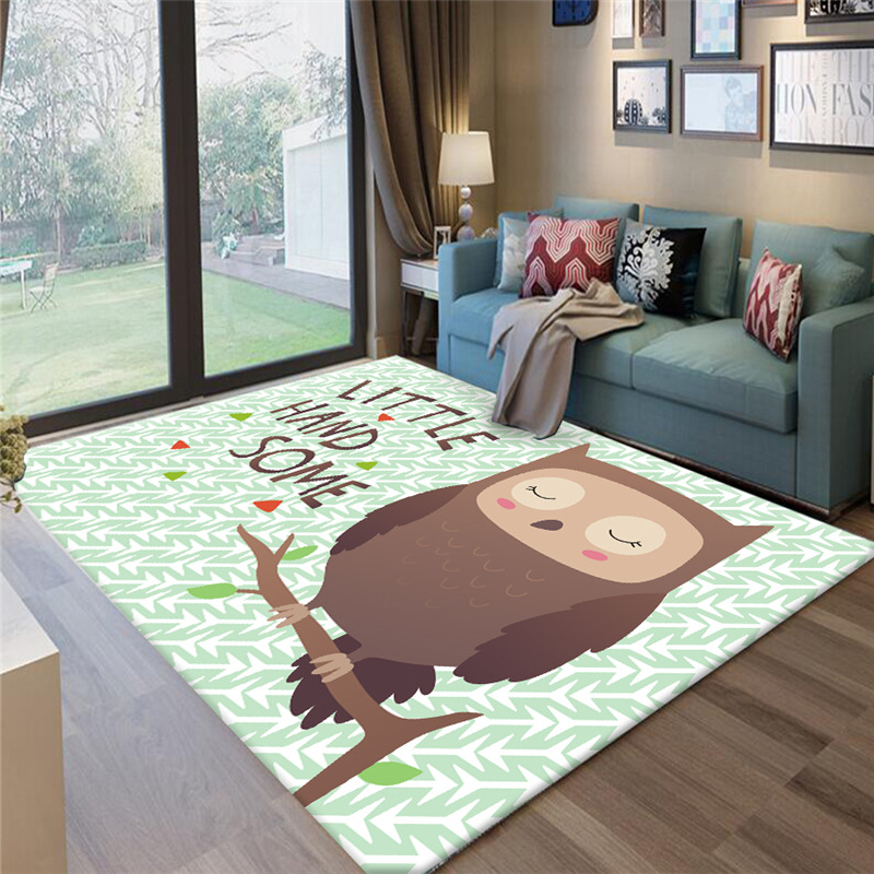 Game Carpet Crawling Floor-Mat Animal-Pattern Home-Decoration Fox/owl-Printed Cartoon