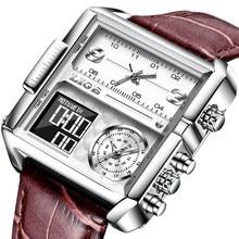 LIGE – montre-bracelet en cuir pour hommes, nouvelle créativité, Top marque de luxe, carré, Quartz, militaire, étanche, lumineuse, horloge