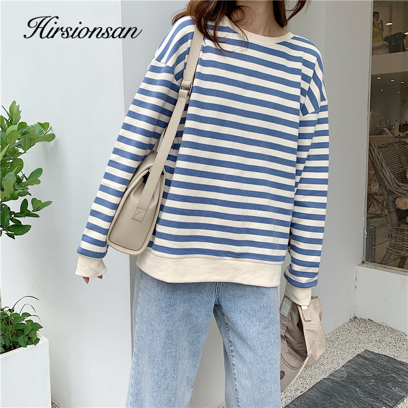 Hirsionsan Striped Sweatshirt Women 2020 Spring New Korean Cotton Hoodies Kawaii Loose Female Pullovers Streetwear Harajuku Tops