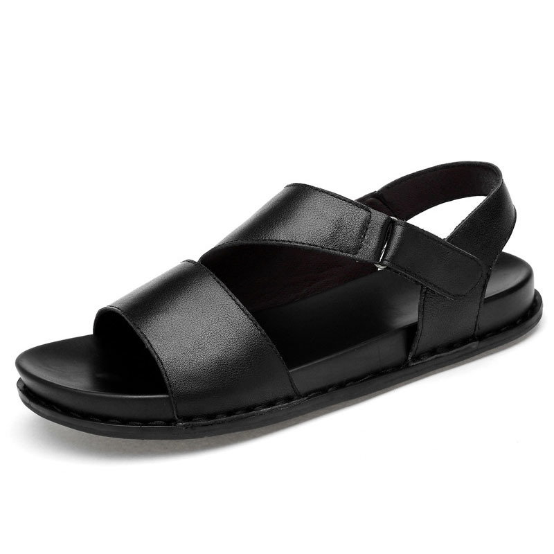 European Style 2020 Summer Platform Sandals Men Real Leather Slides Beach Open-toed Shoes Male Casual Non-Slip Gladiator Sandals