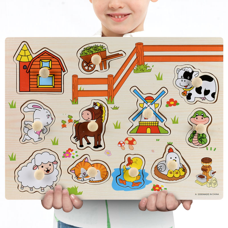 Montessori Wooden Puzzles Hand Grab Boards Toys Tangram Jigsaw Baby Educational Toys Cartoon Vehicle Animals Fruits 3D Puzzles 14