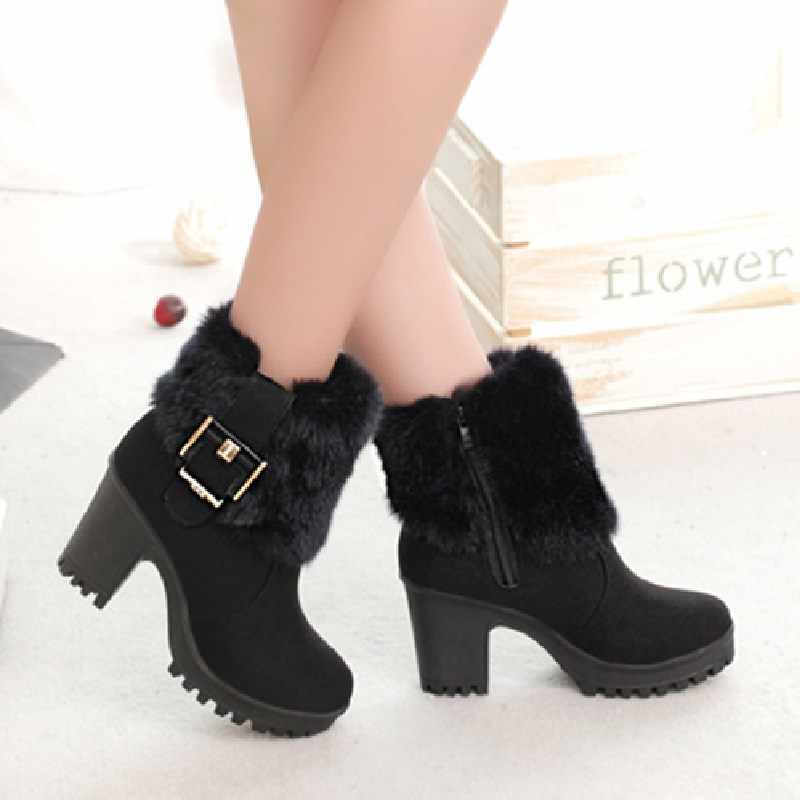 Botines mujer invierno cálidos tacones altos de piel botas Martin cortas moda negro plataforma cuadrada zapatos de nieve botines VT310