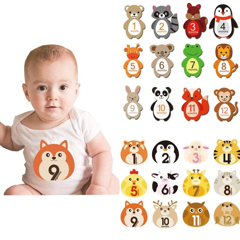 12 Pcs Baby Month Sticker Pregnant Women Milestone Memorial Sticker Newborn Monthly Card Number Fun Photograph Props Accessories