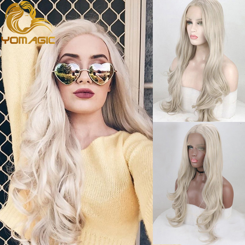 Yomagic Synthetic Hair Lace Front Wigs With Natural Hairline Ash Blonde Color Hair Heat Resistant Fiber Hair Glueless Lace Wig