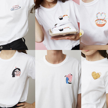 Women T-shirt Couple Sushi Love Cartoon Fun Embroidery Short Sleeve T-shirt White