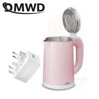 Dmwd 110 v/220 v dupla tensão viagem aquecimento de água quente chaleira elétrica mini aquecedor ebulição portátil de aço inoxidável caldeira bule de chá