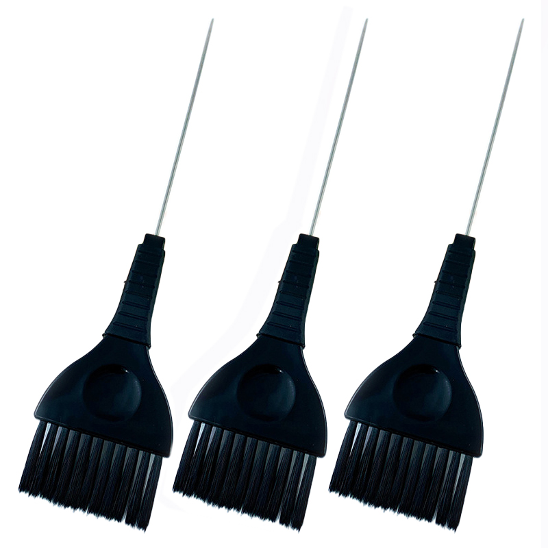 3pcs/set Metal Tail Hair Dyeing Brushes Hairdressing Color Dye Tint Highlight Hairbrush Hair Sectioning Brush Hairdresser 1442