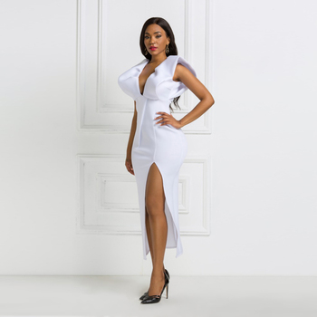 White Dresses Party Sexy Deep V Neck High Waist Slit Bodycon Ruffles Backless Event Occassion Women Celebrate Evening Night Robe 3