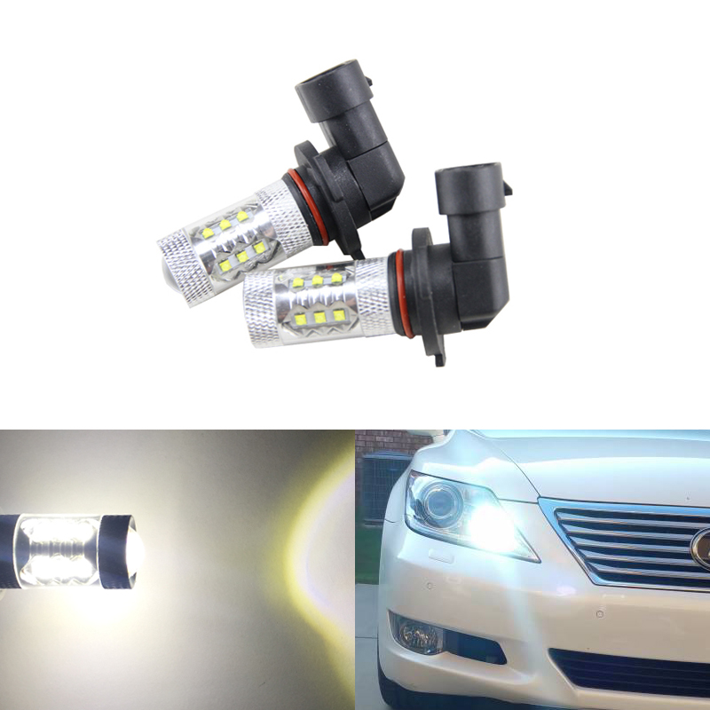 2PCs 9005 HB3 80W White Led High Beam Daytime Running Lights For <font><b>Lexus</b></font> IS <font><b>GS</b></font> ES LS RX 350 For Toyota Corolla Highlander Prius image