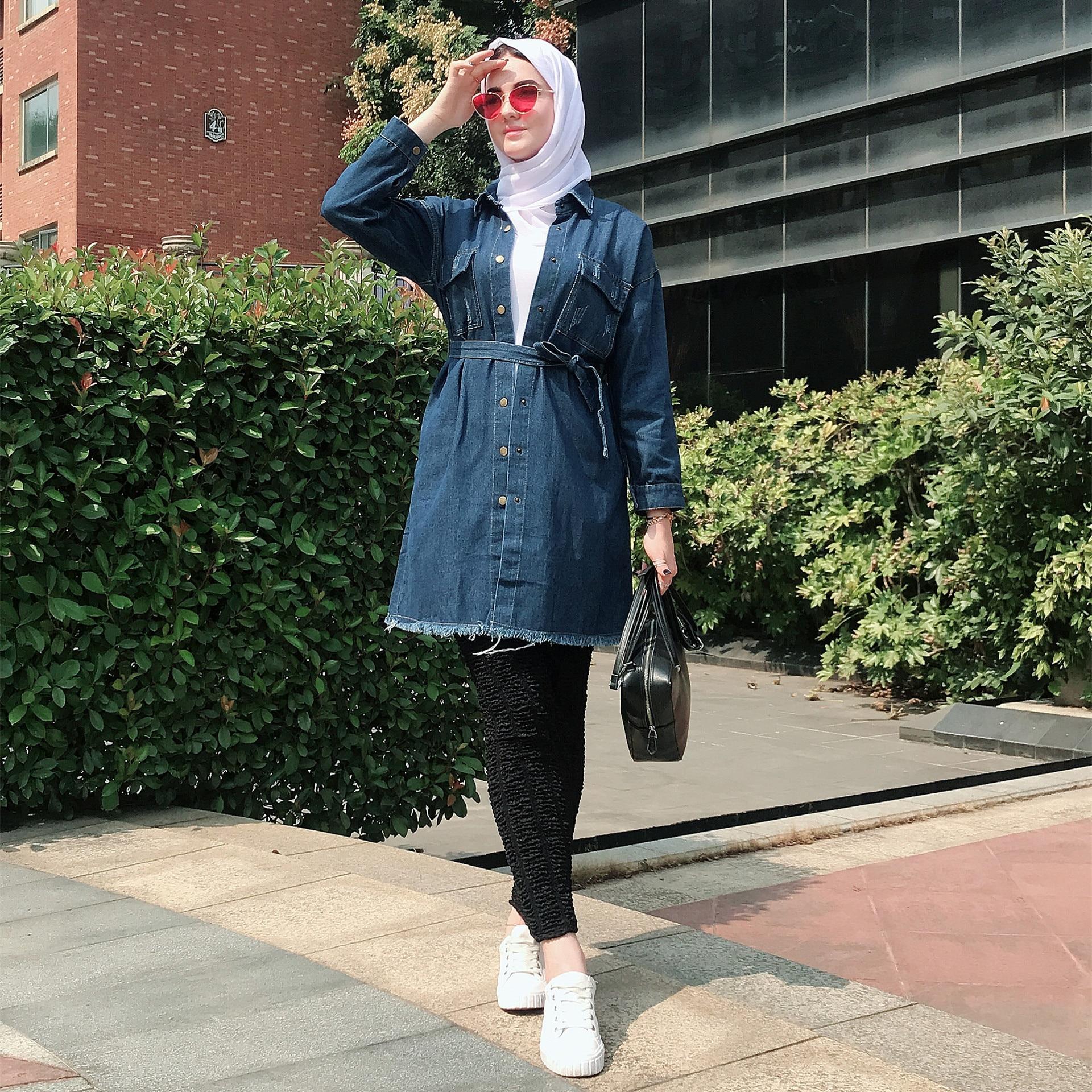 Casual Muslim Jeans Cardigan Denim Bolero Tunic Abaya Hijab Dress Kimono Long Robe Gowns Jubah Middle East Ramadan Arab Islamic
